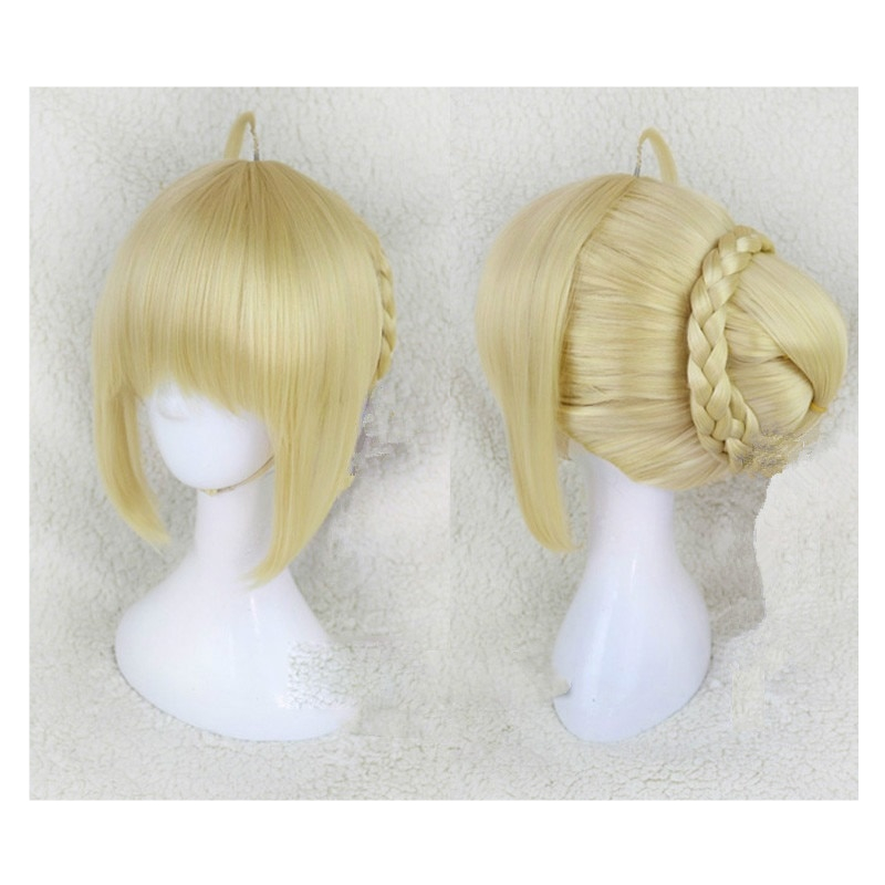 Fate Stay Night Arturia Pendragon Saber Wigs Cosplay Costume Grand Order Women Synthetic Hair Halloween Party Role Play Wig