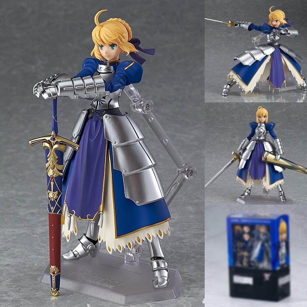 Anime Figure Figma 227 Fate Stay Night Saber Pvc Action Figures Collectible Model Toy 14cm