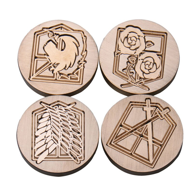 Hot Attack On Titans Wax Seal Metal Stamps With Handle Diy Scrapbooking Stamp Copper Head Vintage Wood